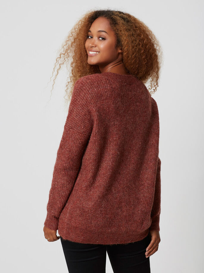 LONG SLEEVED KNITTED PULLOVER, Fired Brick, large