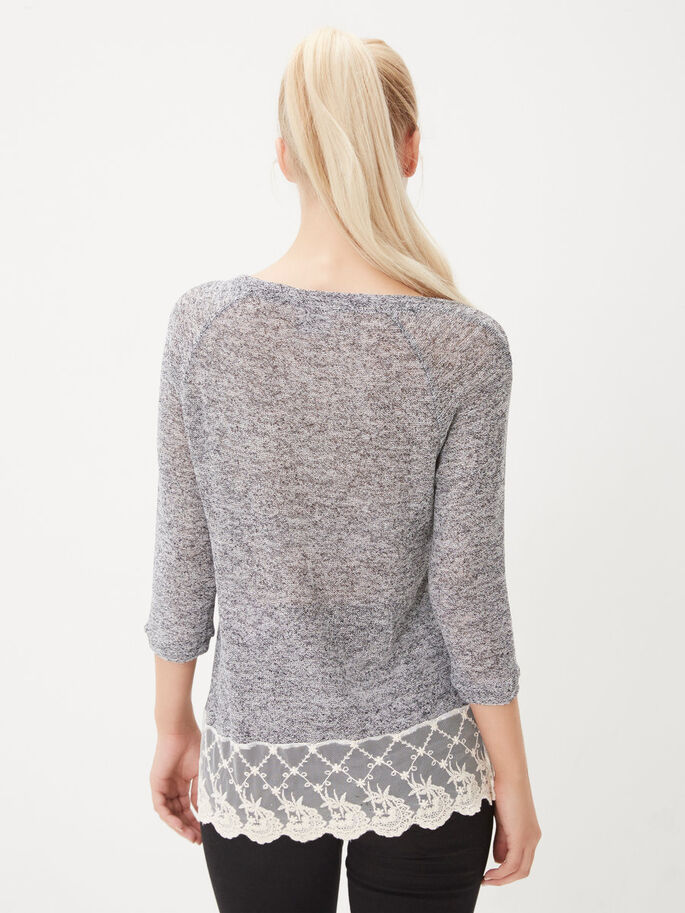 LACED 3/4 SLEEVED TOP, Total Eclipse, large