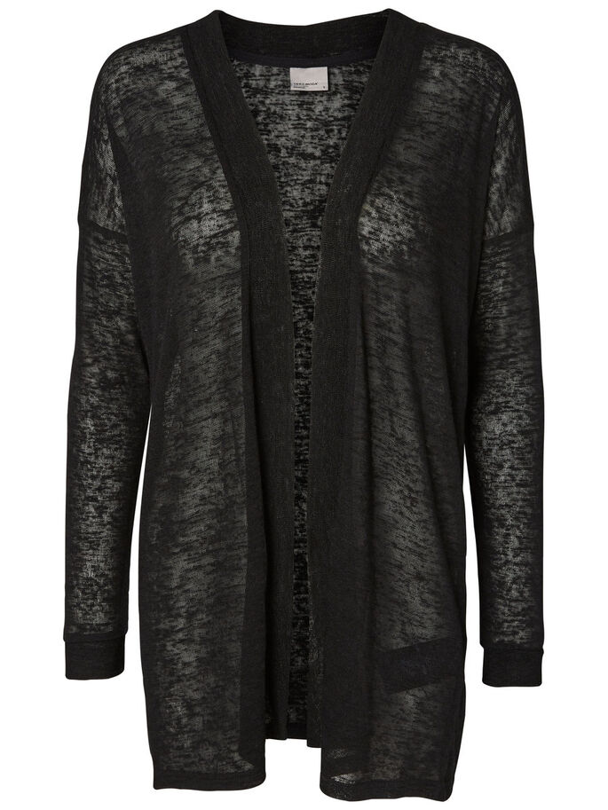 LONG KNITTED CARDIGAN, Black Beauty, large
