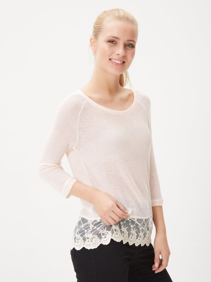 BLONDE TOP MED 3/4-ÆRMER, Pearl, large