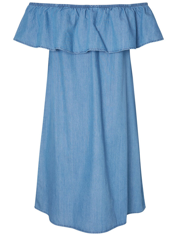 OFF-SHOULDER JURK, Light Blue Denim, large