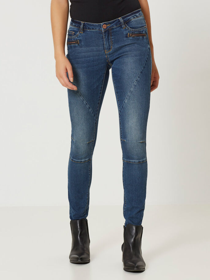 EVE LW BIKER JEAN SKINNY, Dark Blue Denim, large