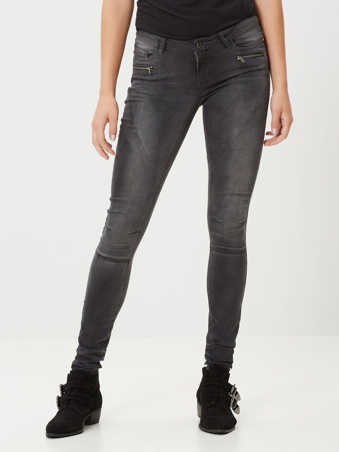 EVE LW BIKER SKINNY FIT JEANS, Dark Grey Denim, large