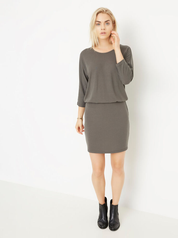 3/4 SLEEVED SHORT DRESS, Smoked Pearl, large