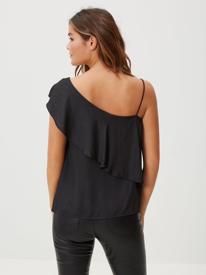 ONE-SHOULDER LYHYTHIHAINEN TOPPI, Black, large