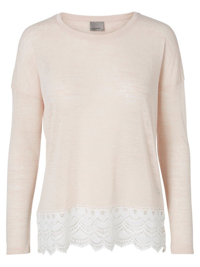 LACE LONG SLEEVED TOP, Pearl, large