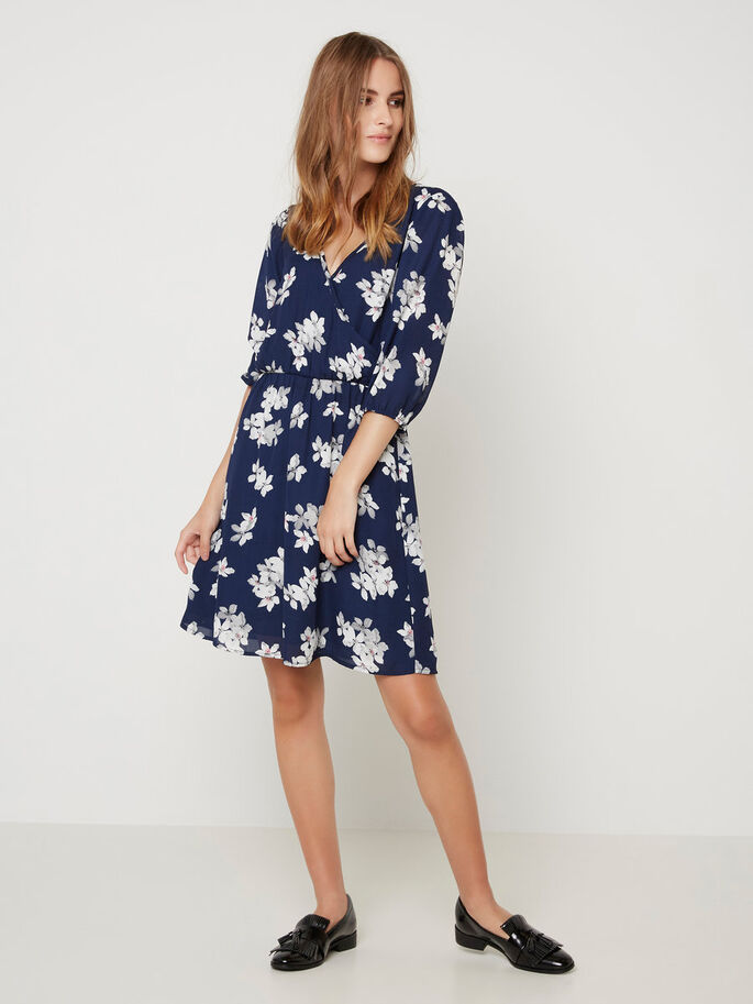 FLOWER PRINTED DRESS, Black Iris, large