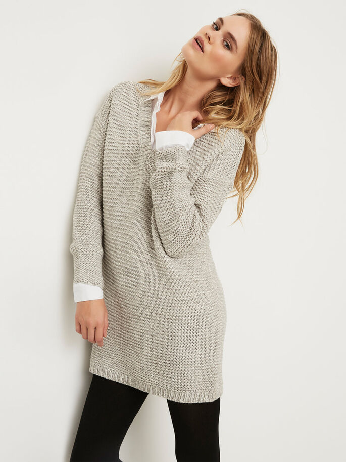 LANGER STRICKPULLOVER, Light Grey Melange, large