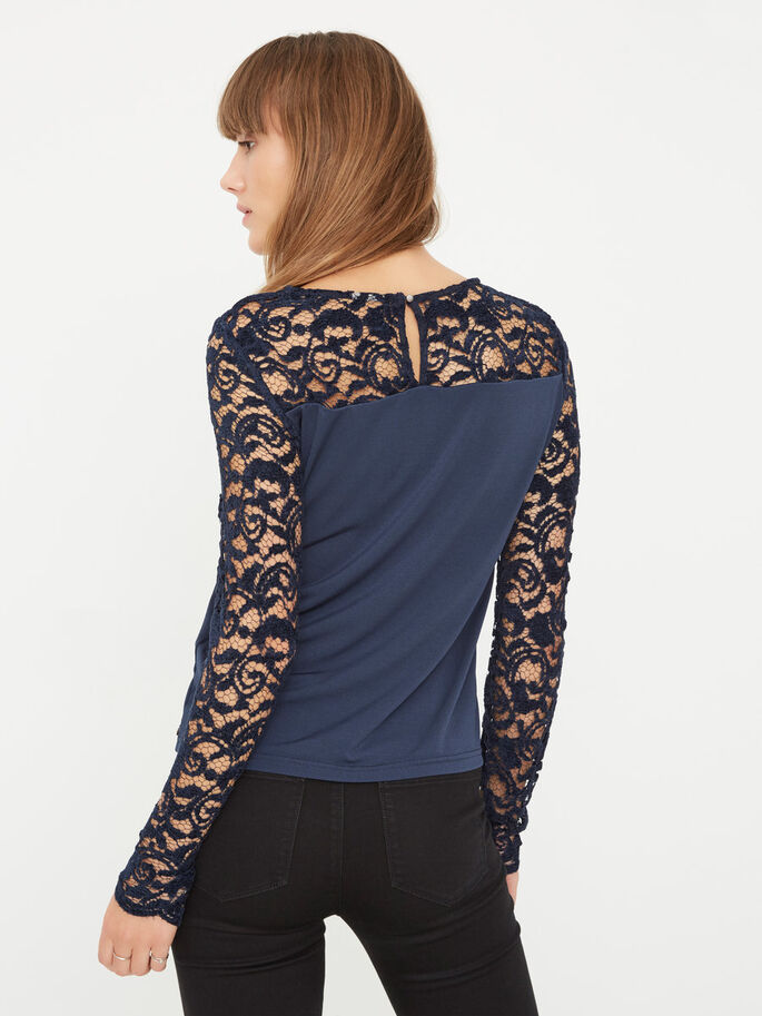 LACE LONG SLEEVED BLOUSE, Navy Blazer, large