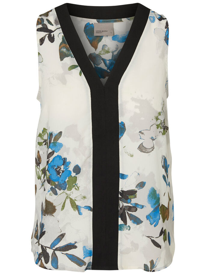 FLOWER SLEEVELESS TOP, Antique White, large