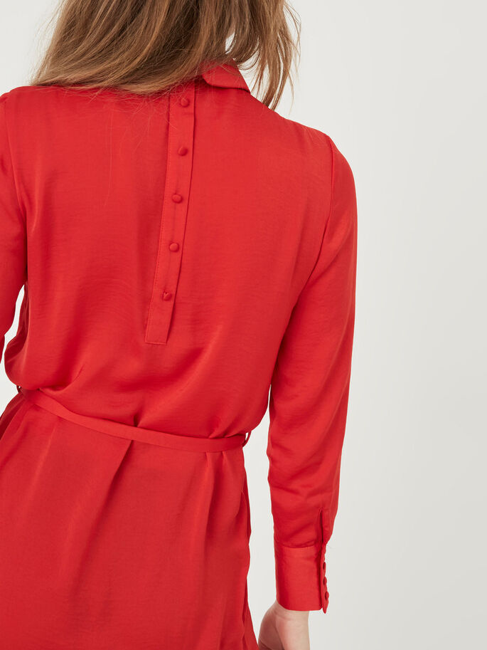 FEMININE LONG SLEEVED DRESS, Racing Red, large