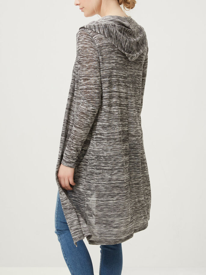 LONG CARDIGAN, Dark Grey Melange, large