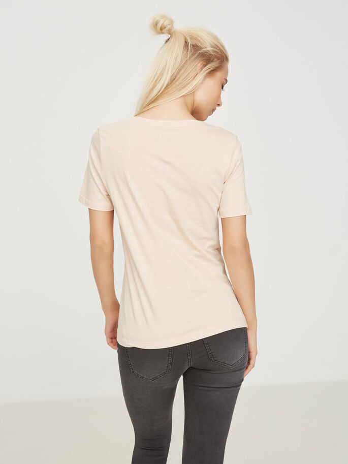 CASUAL SHORT SLEEVED TOP, Cream Tan, large