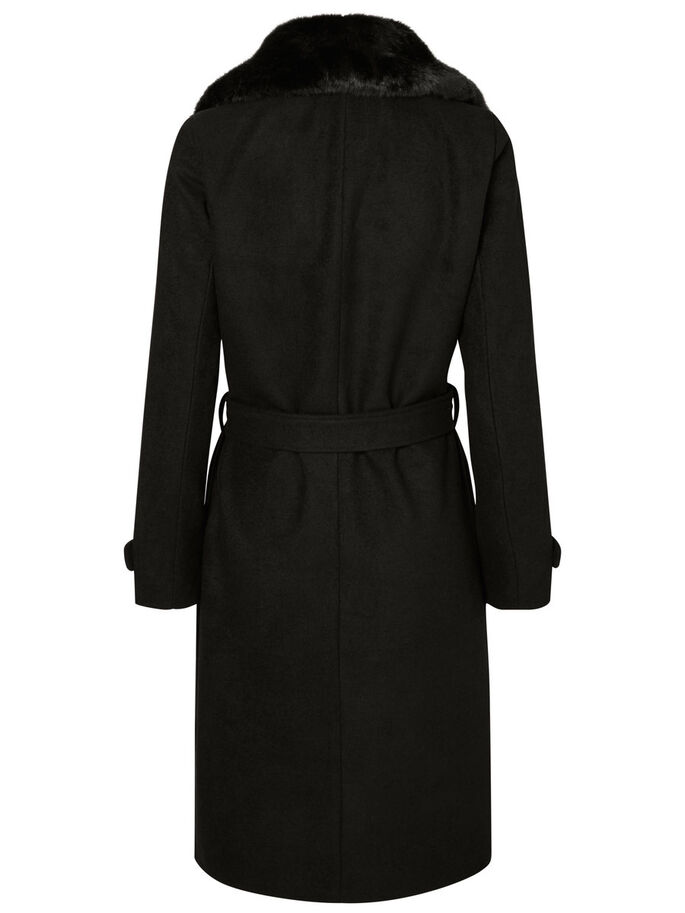 LONG EN LAINE MANTEAU, Black, large