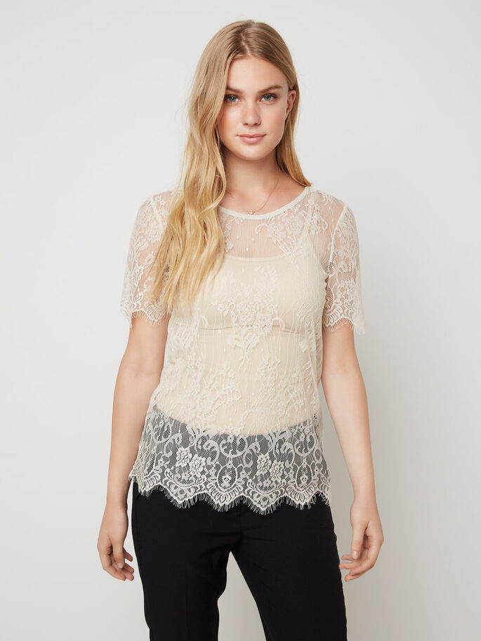 LACE SHORT SLEEVED TOP, Moonbeam, large