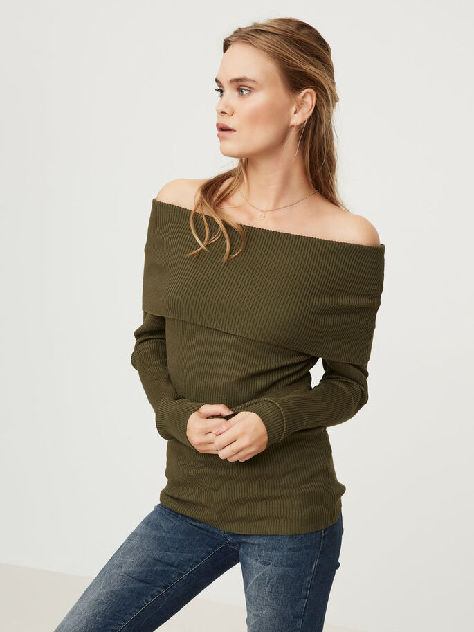 OFF-SHOULDER- OBERTEIL MIT LANGEN ÄRMELN, Ivy Green, large