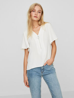 FRILL SLEEVED SHORT SLEEVED TOP