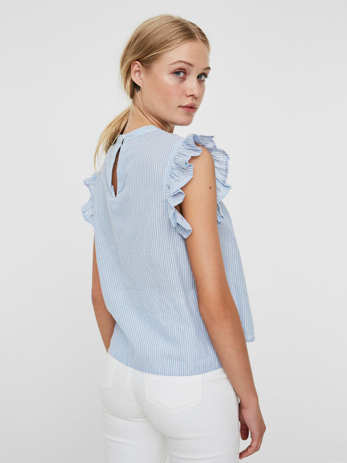 VOLANT TOP SANS MANCHES, Chambray Blue, large