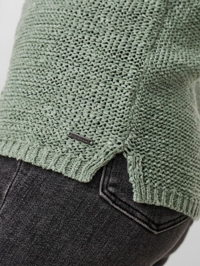 O-NECK KNITTED PULLOVER, Jadeite, large