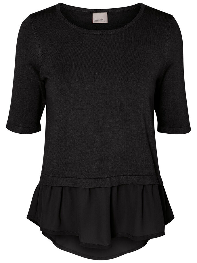 FEMININE BLUSE MIT 2/4 ÄRMELN, Black Beauty, large