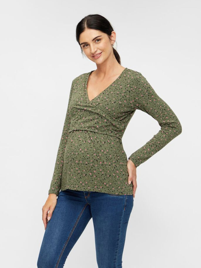 ABSTRACT PRINTED 2-IN-1 MATERNITY TOP, Thyme, large