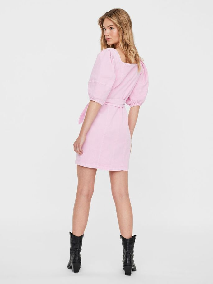 BELTED MINI DRESS, Roseate Spoonbill, large