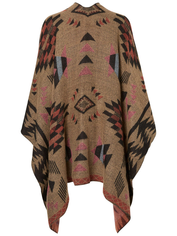 KNITTED PONCHO, Tan, large