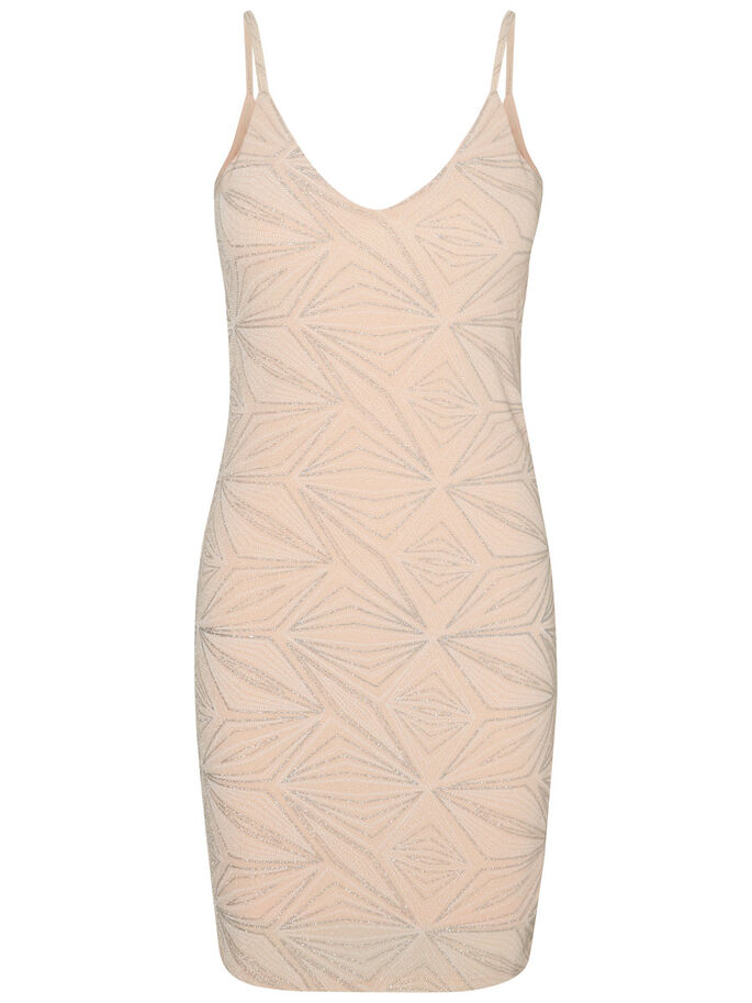 GLITTER SLEEVELESS DRESS, Pale Peach, large