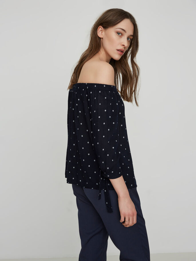 OFF-SHOULDER SHIRT MET 3/4 MOUWEN, Navy Blazer, large