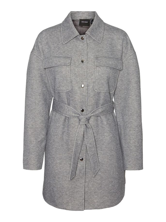 WRAP SHIRT JACKET, Light Grey Melange, large