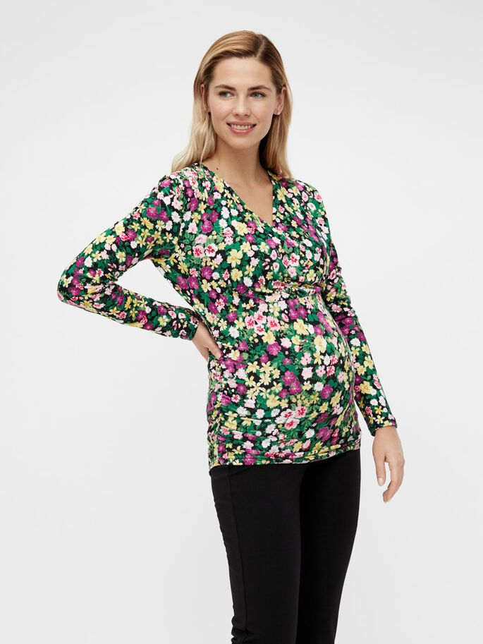FLORAL JERSEY 2-IN-1 MATERNITY TOP, Black, large
