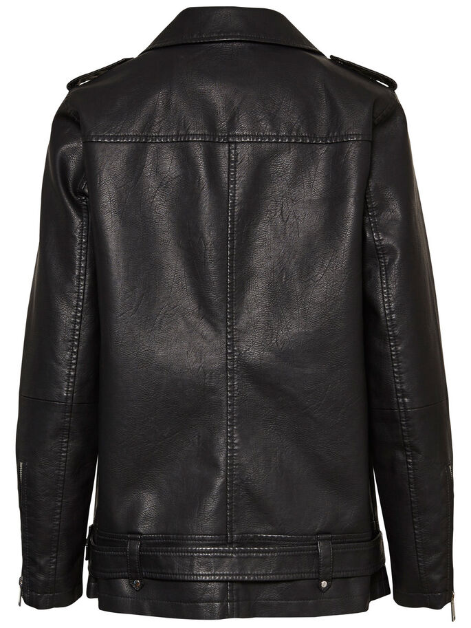 LONG BIKER JACKET, Black, large