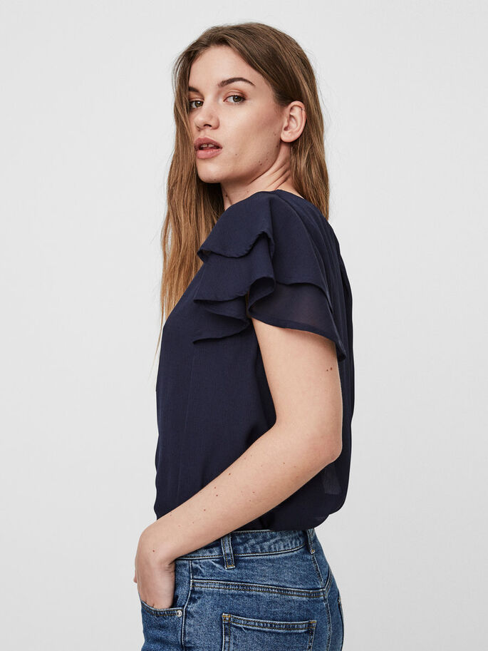 FRILL SHORT SLEEVED TOP, Navy Blazer, large