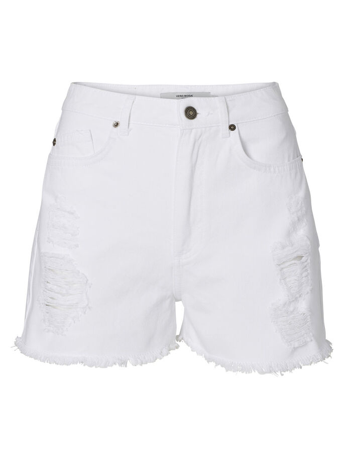 DENIM HW SHORTS, Snow White, large