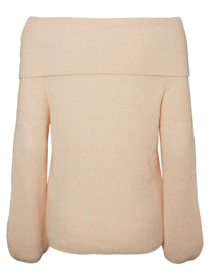 OFF-SHOULDER KNITTED PULLOVER, Cream Tan, large