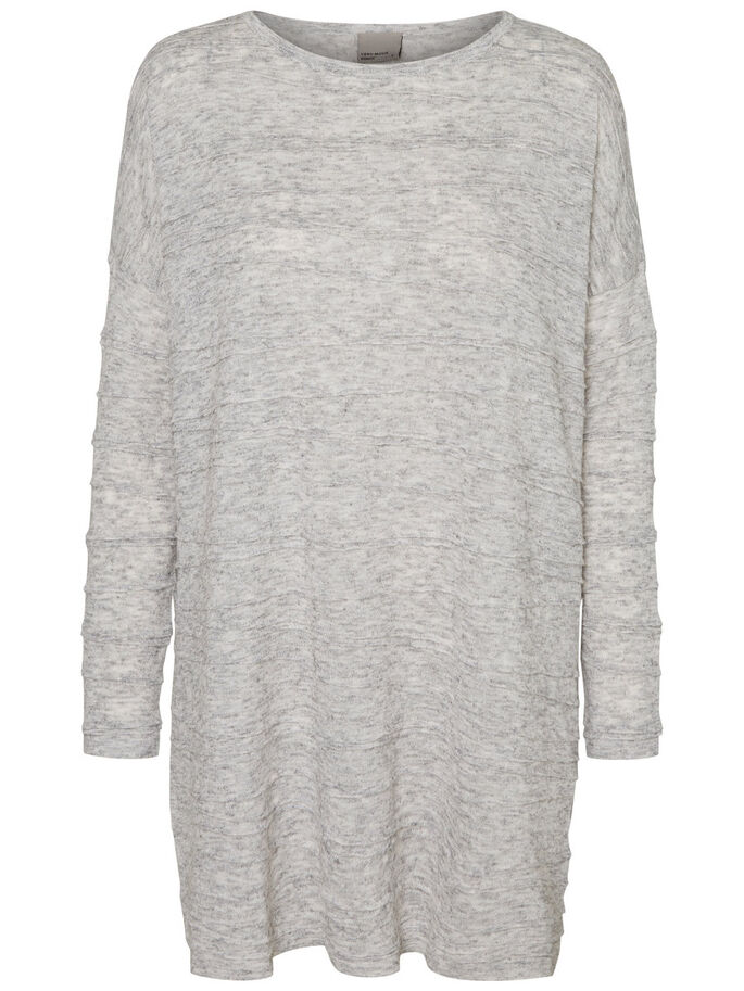 CASUAL LONG SLEEVED BLOUSE, Light Grey Melange, large