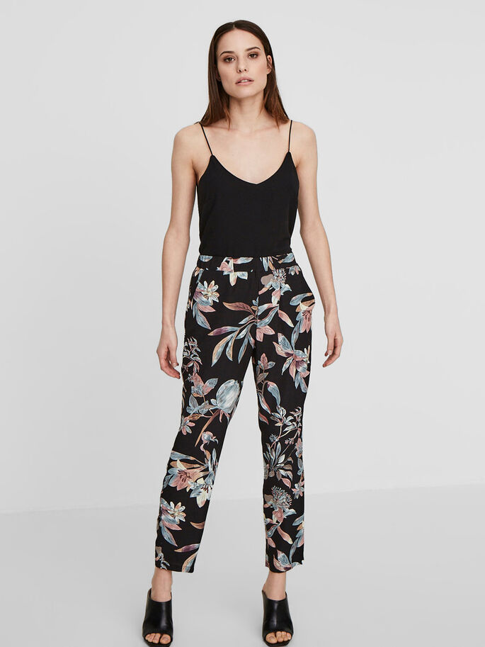 FLOWER TROUSERS, Black, large