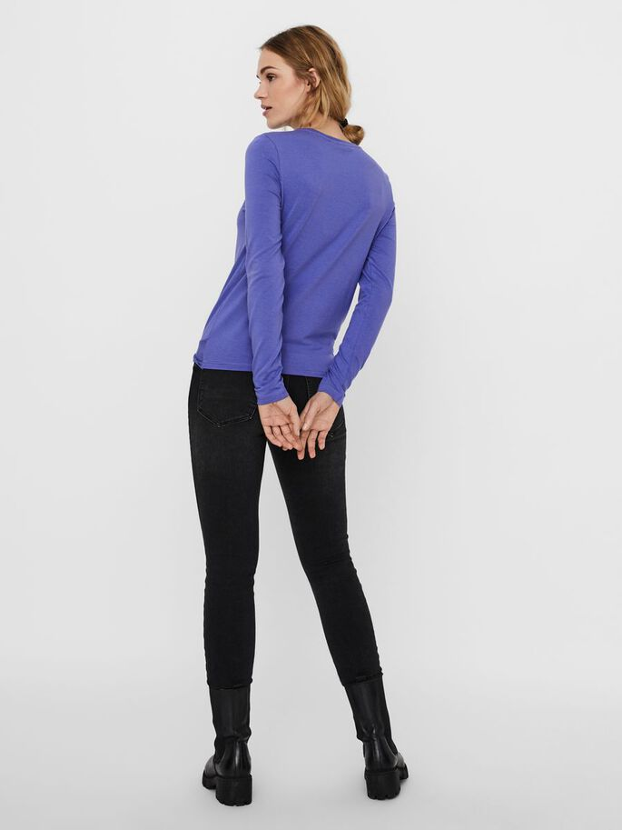 KNOT LONG SLEEVED TOP, Blue Iris, large