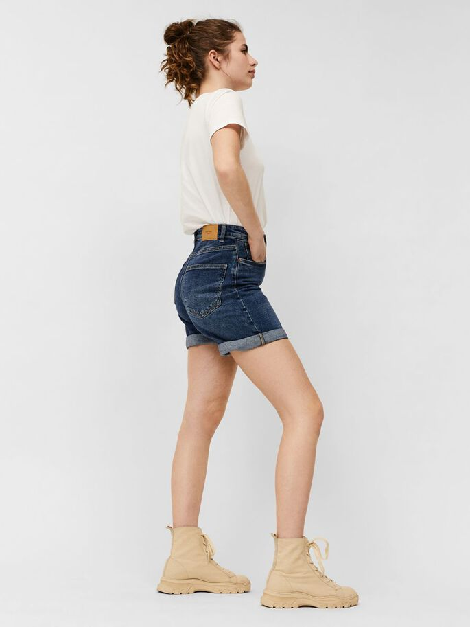 HIGH WAIST MOM SHORTS, Medium Blue Denim, large