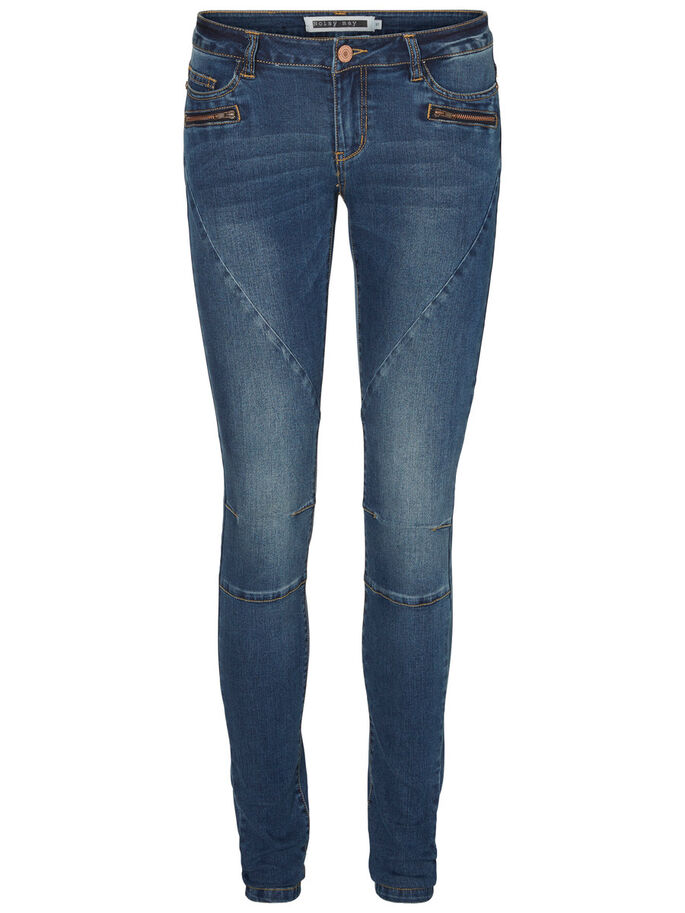 EVE LW BIKER SKINNY FIT JEANS, Dark Blue Denim, large
