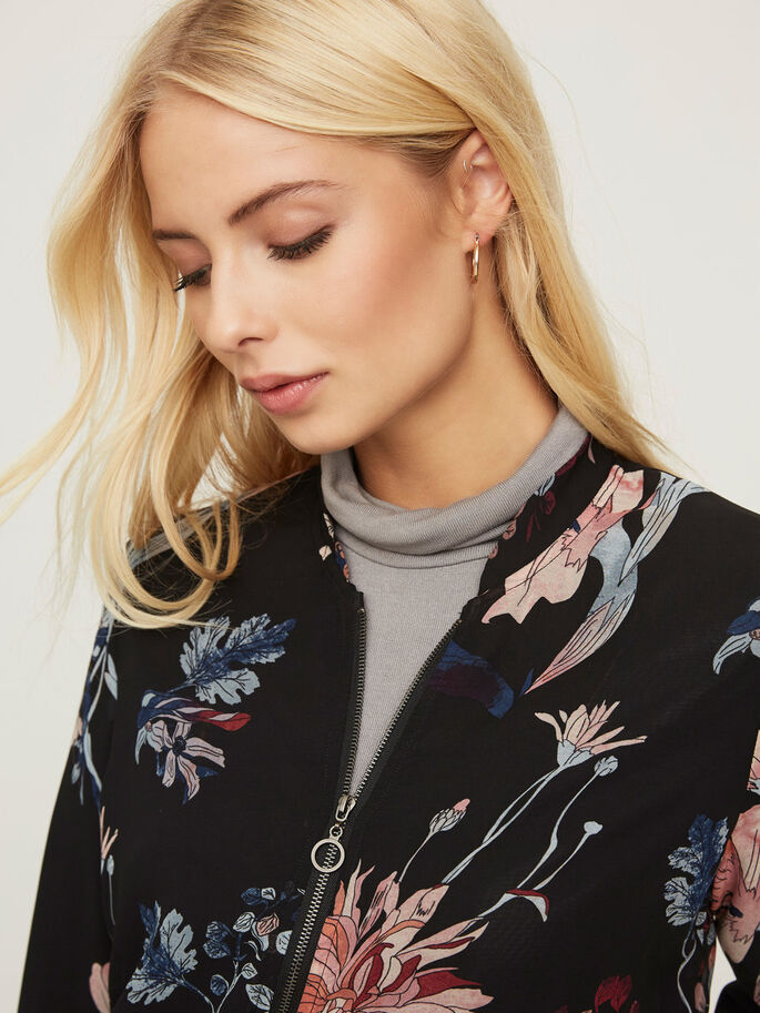 FLOWER BOMBER JACKET, Black, large