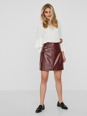 HW LEATHER-LOOK SKIRT
