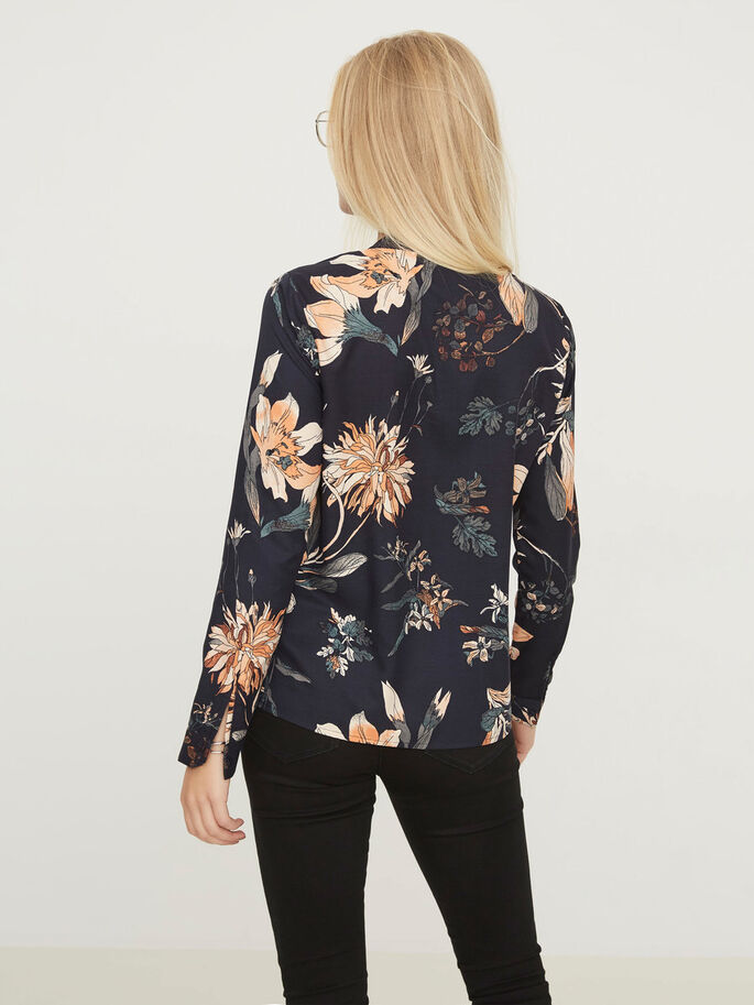 FLOWER LONG SLEEVED SHIRT, Navy Blazer, large