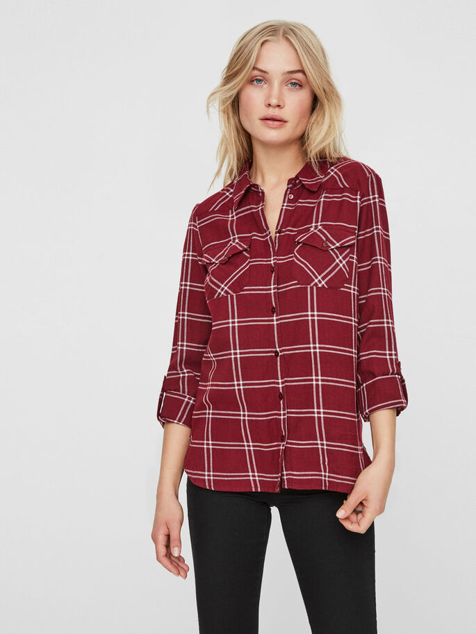 CHEQUERED SHIRT, Zinfandel, large