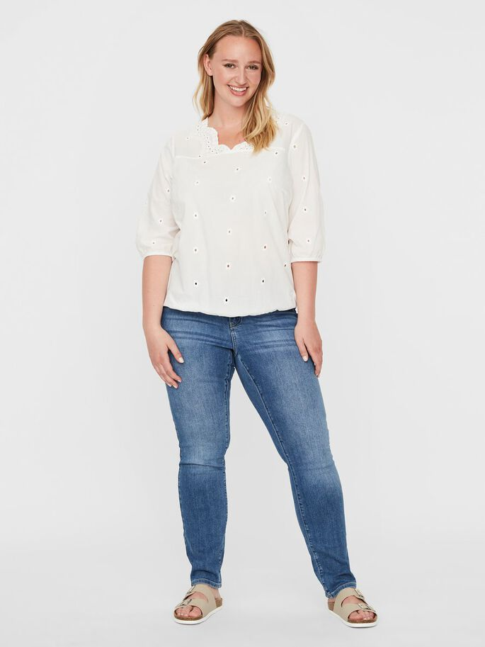 3/4 SLEEVED TOP, Snow White, large