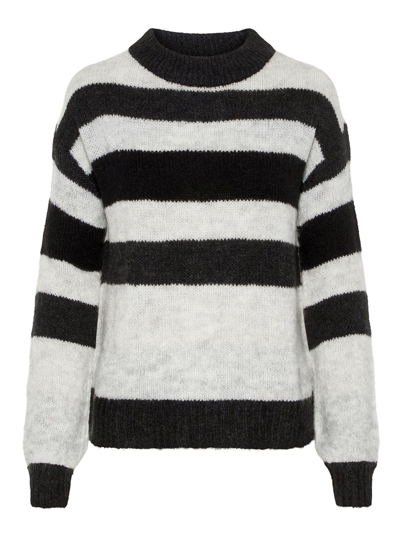 Striped Knitted Pullover Women grey