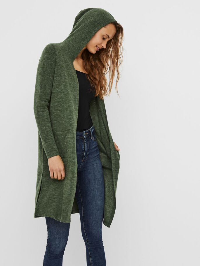 LONG OUVERT CARDIGAN, Black Forest, large