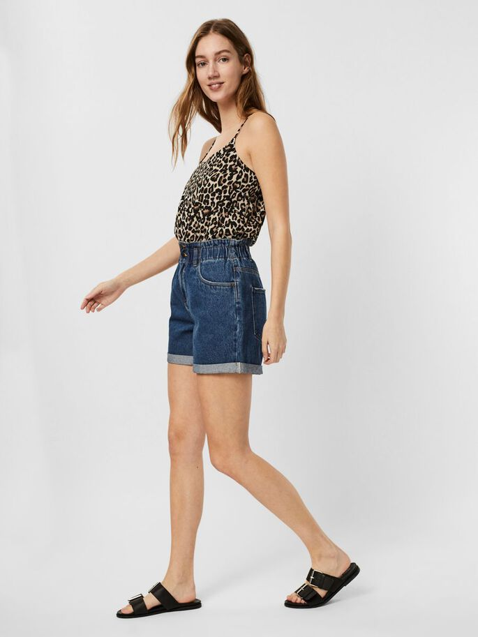 HIGH WAISTED SHORTS, Medium Blue Denim, large