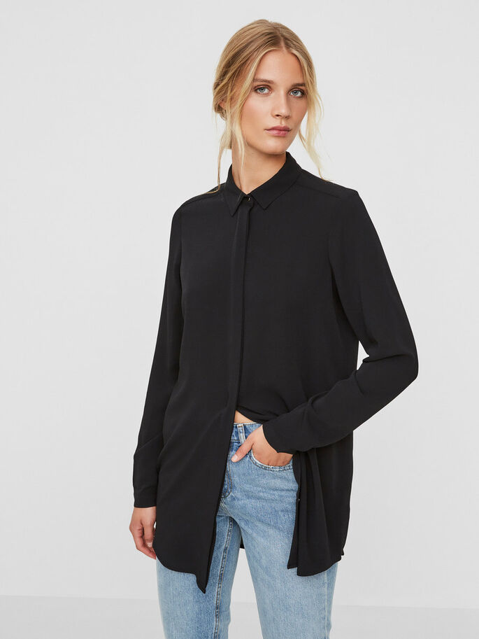 LANG OVERHEMD, Black, large