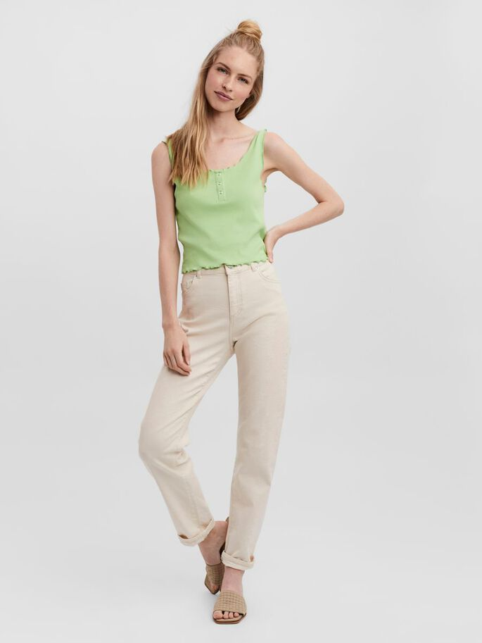 BUTTON SLEEVELESS TOP, Nile Green, large